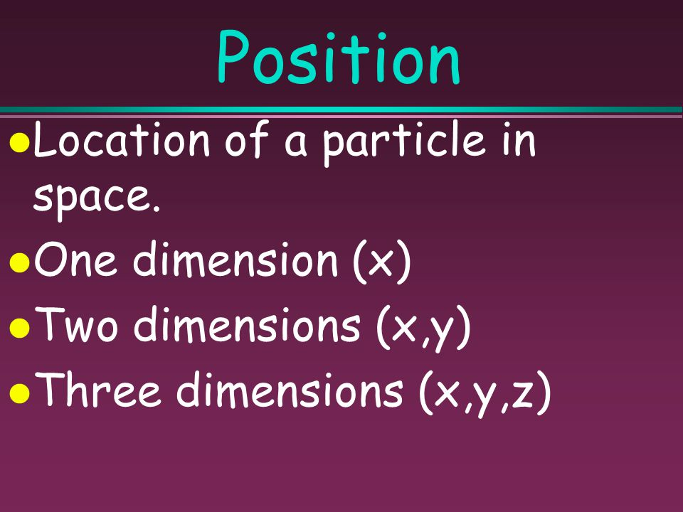 Position Location of a particle in space. One dimension (x)