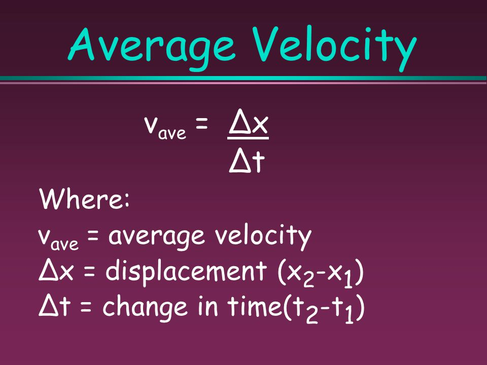 Average Velocity vave = ∆x ∆t Where: vave = average velocity