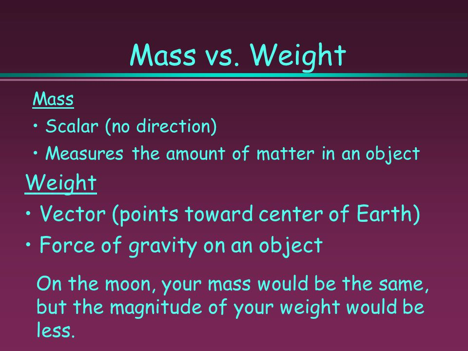 Mass vs. Weight Weight Vector (points toward center of Earth)