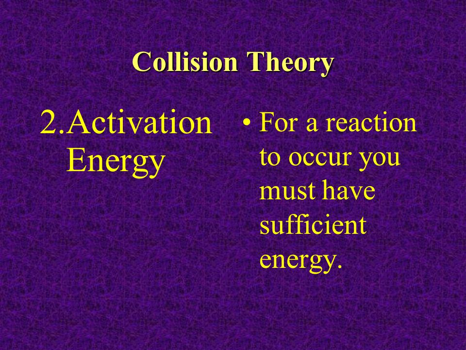 Activation Energy Collision Theory