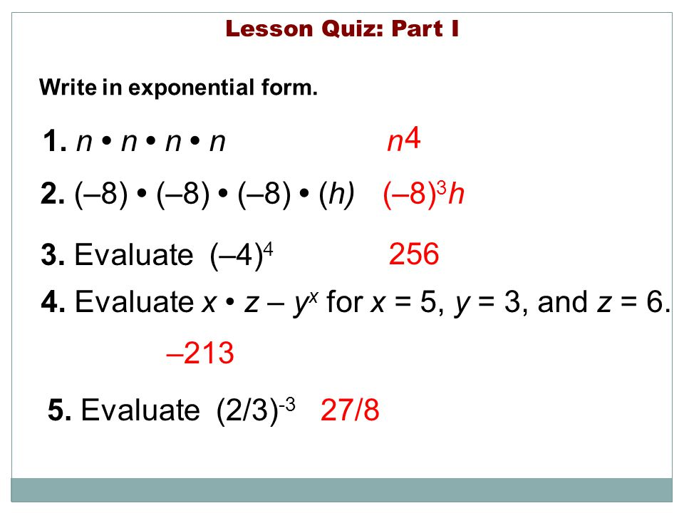 4. Evaluate x • z – yx for x = 5, y = 3, and z = 6.