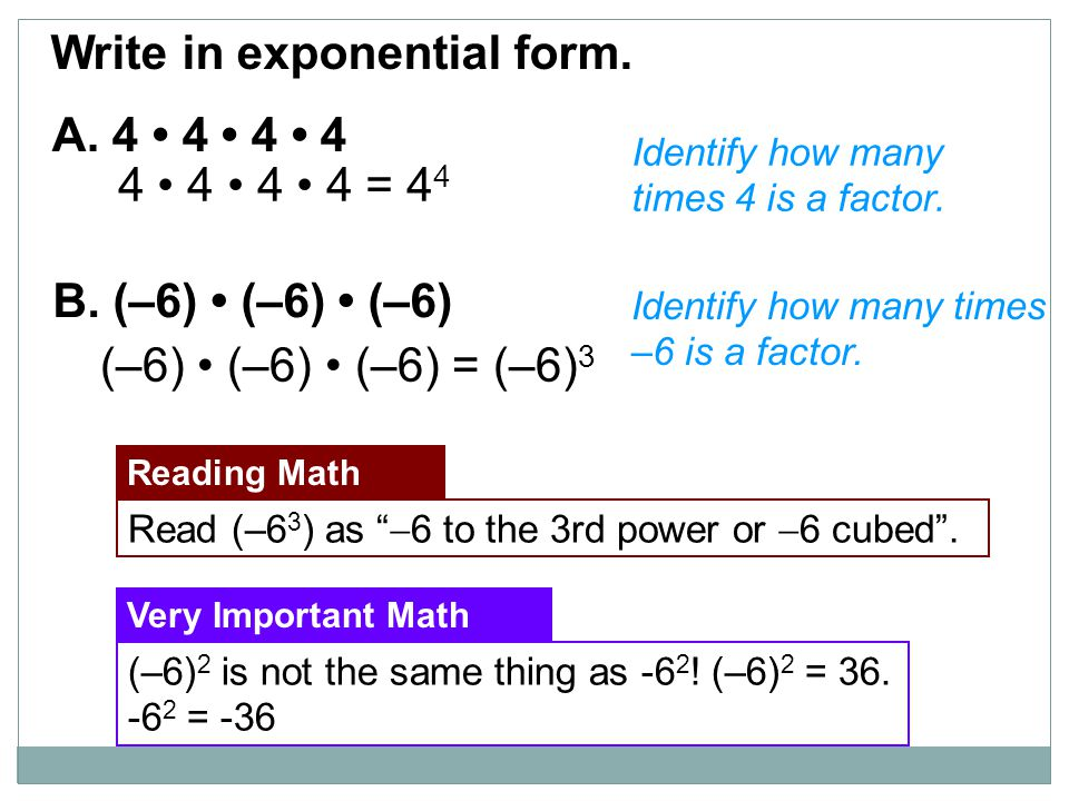 Write in exponential form.
