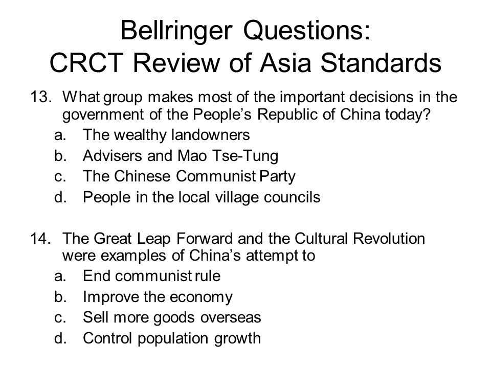 Bellringer Questions: CRCT Review of Asia Standards