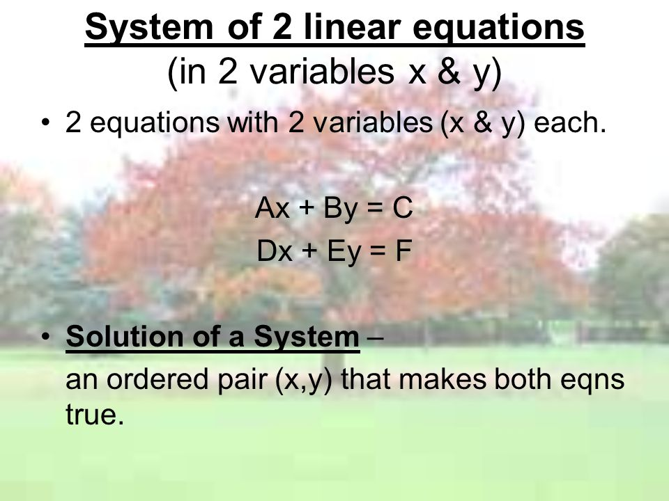 System of 2 linear equations (in 2 variables x & y)