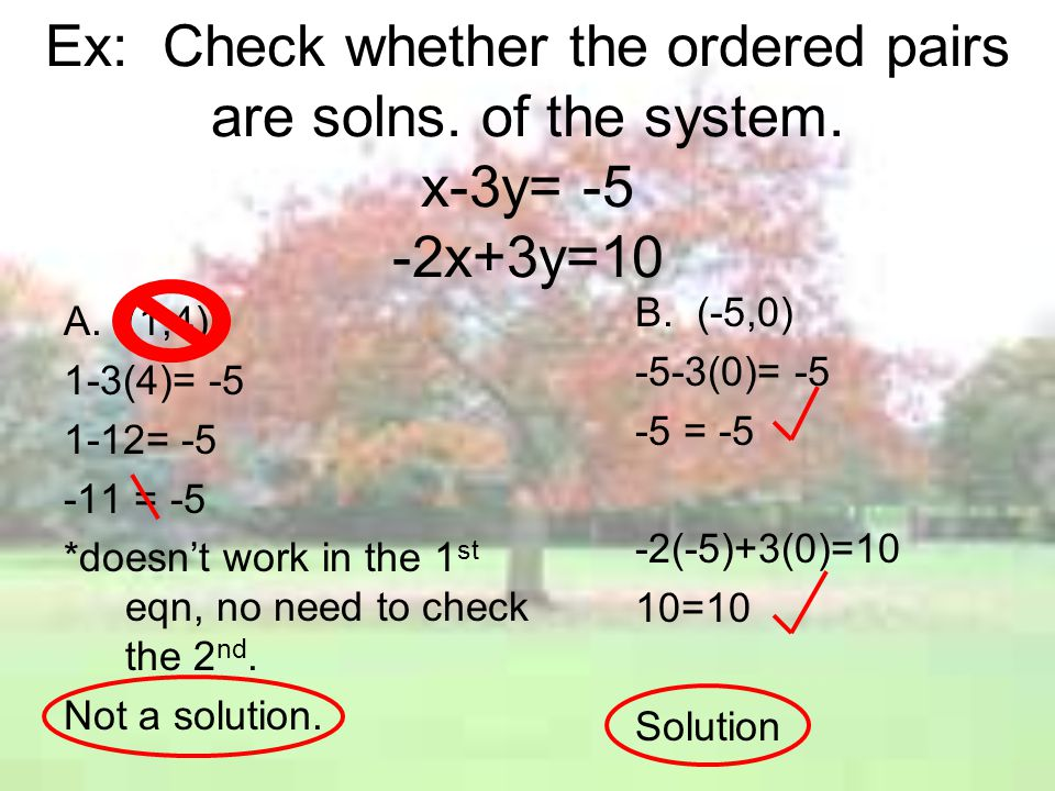 Ex: Check whether the ordered pairs are solns. of the system