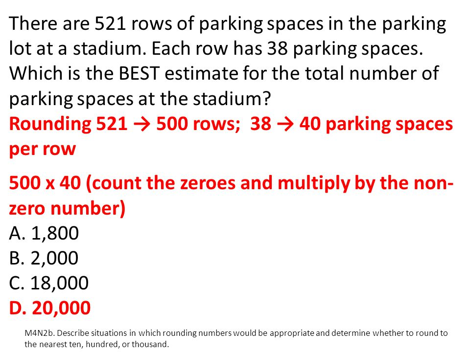 Rounding 521 → 500 rows; 38 → 40 parking spaces per row