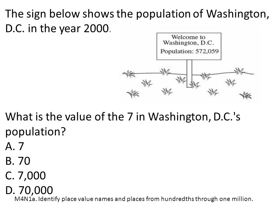 What is the value of the 7 in Washington, D.C. s population A. 7