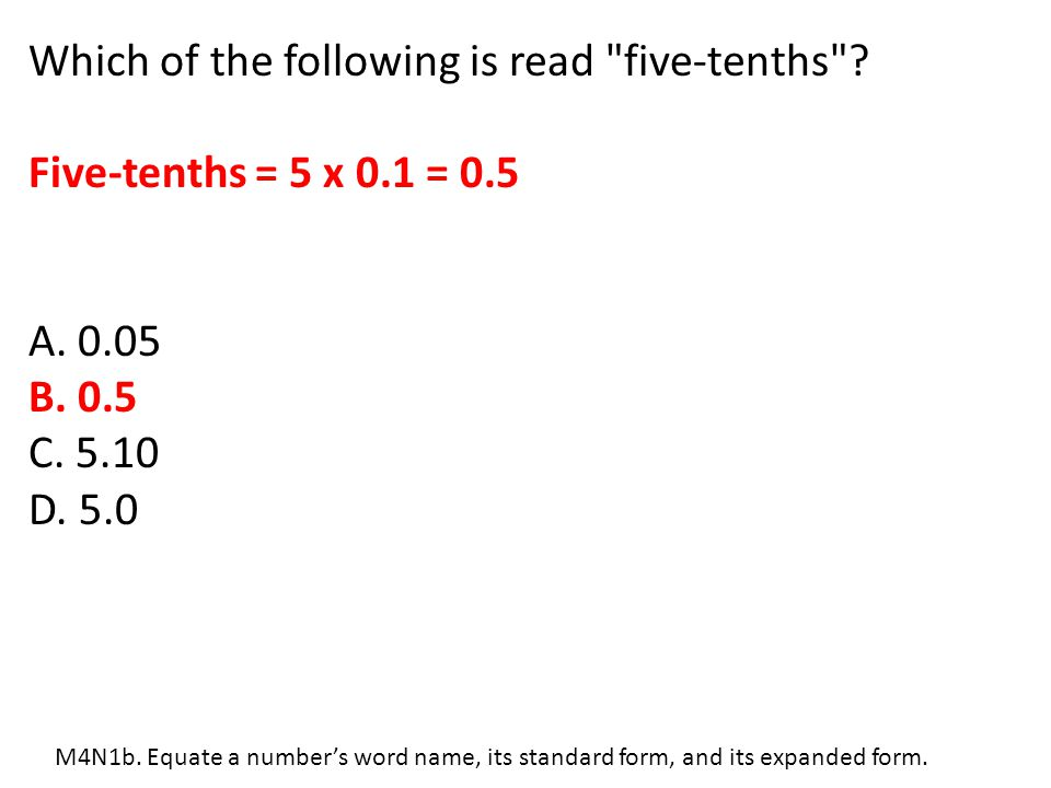 Which of the following is read five-tenths