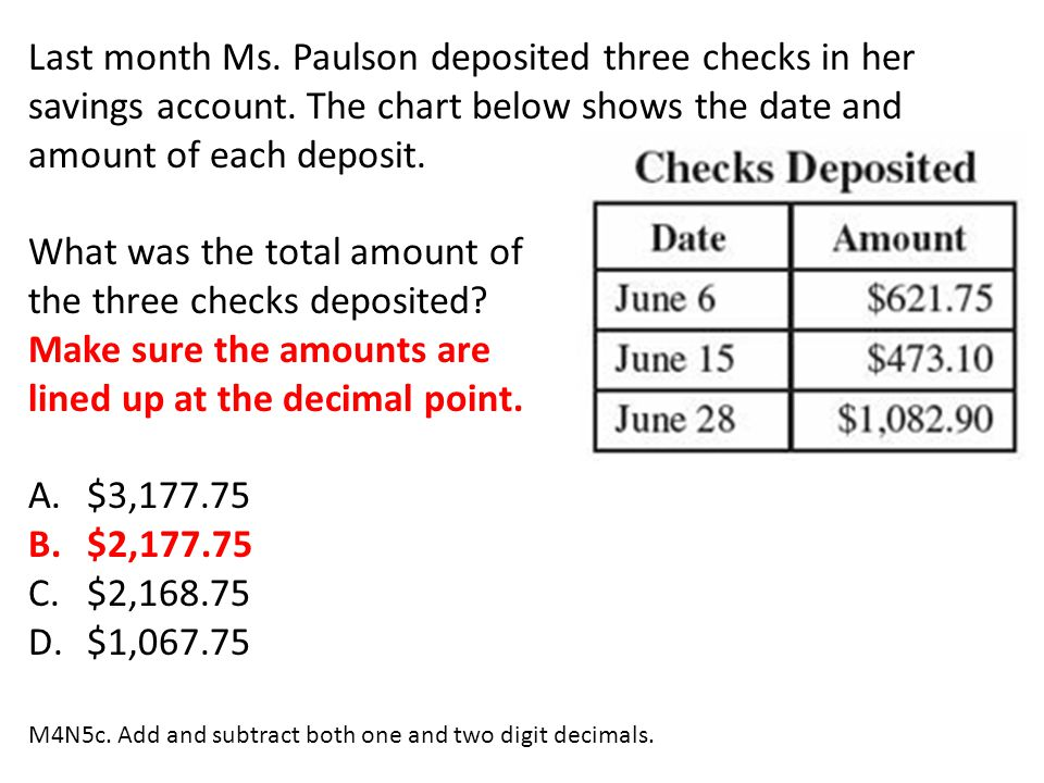 What was the total amount of the three checks deposited