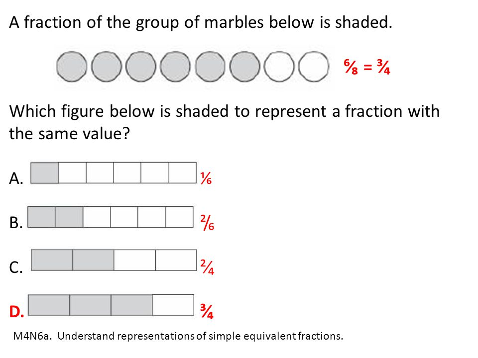 A fraction of the group of marbles below is shaded. ⁶⁄₈ = ³⁄₄