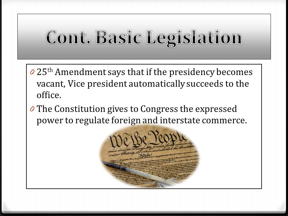 Cont. Basic Legislation