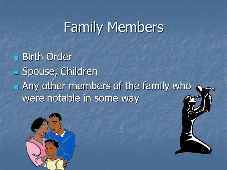 Family Members Birth Order Spouse, Children