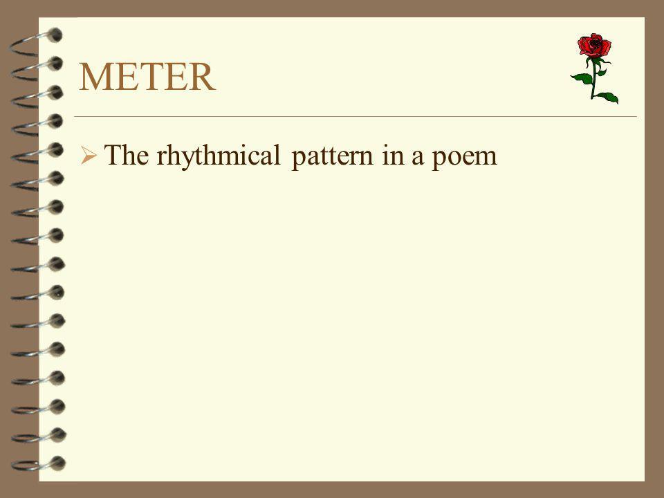 METER The rhythmical pattern in a poem
