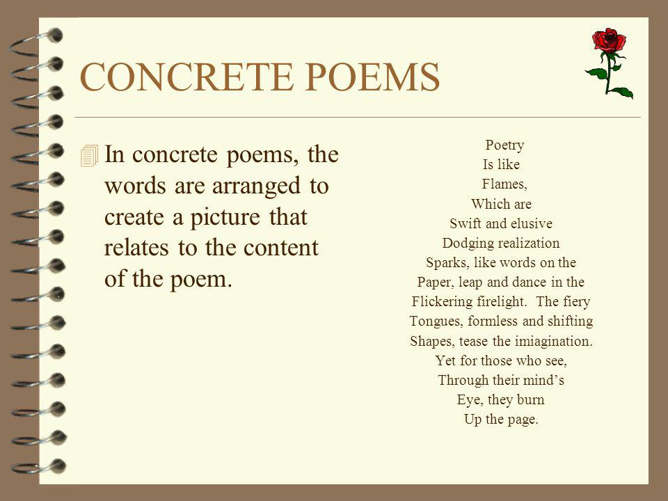 CONCRETE POEMS In concrete poems, the words are arranged to create a picture that relates to the content of the poem.