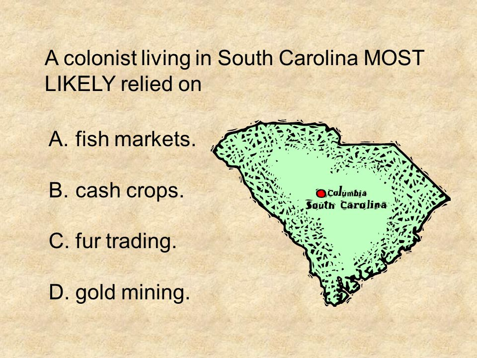 A colonist living in South Carolina MOST LIKELY relied on