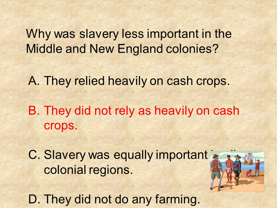 Why was slavery less important in the Middle and New England colonies