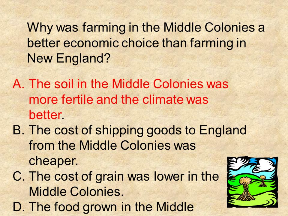 Why was farming in the Middle Colonies a better economic choice than farming in New England