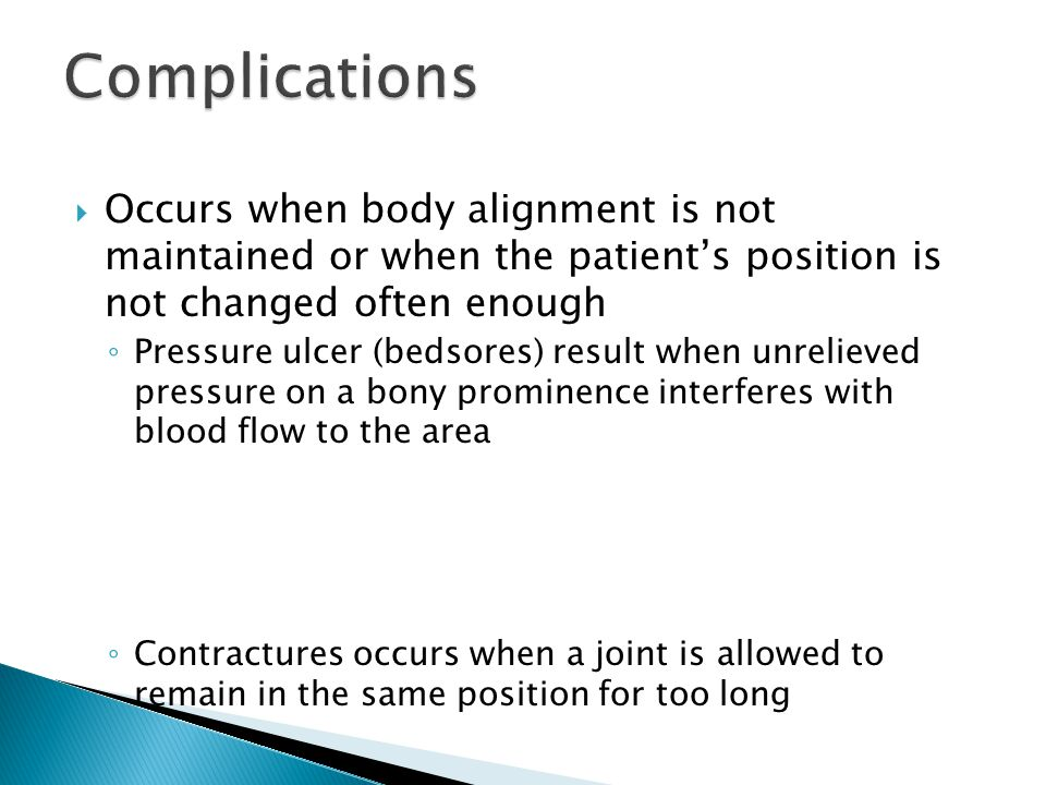 Complications Occurs when body alignment is not maintained or when the patient's position is not changed often enough.
