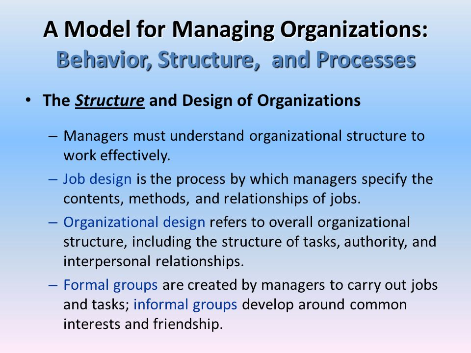A Model for Managing Organizations: Behavior, Structure, and Processes