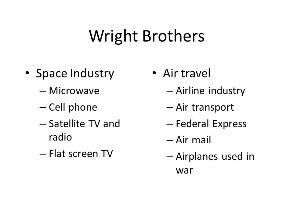 Wright Brothers Space Industry Air travel Microwave Cell phone