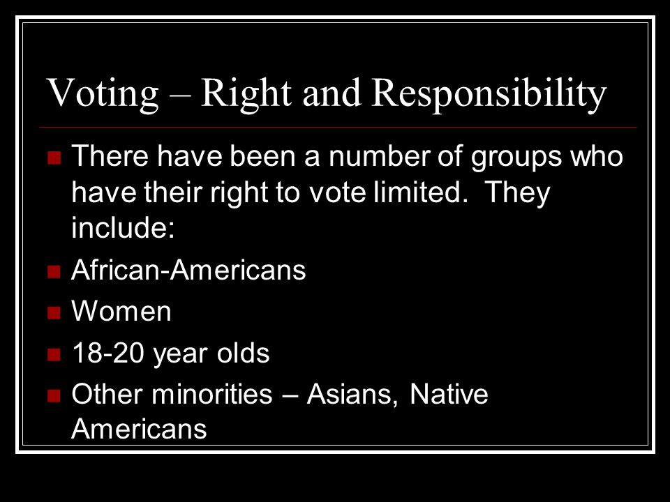 Voting – Right and Responsibility