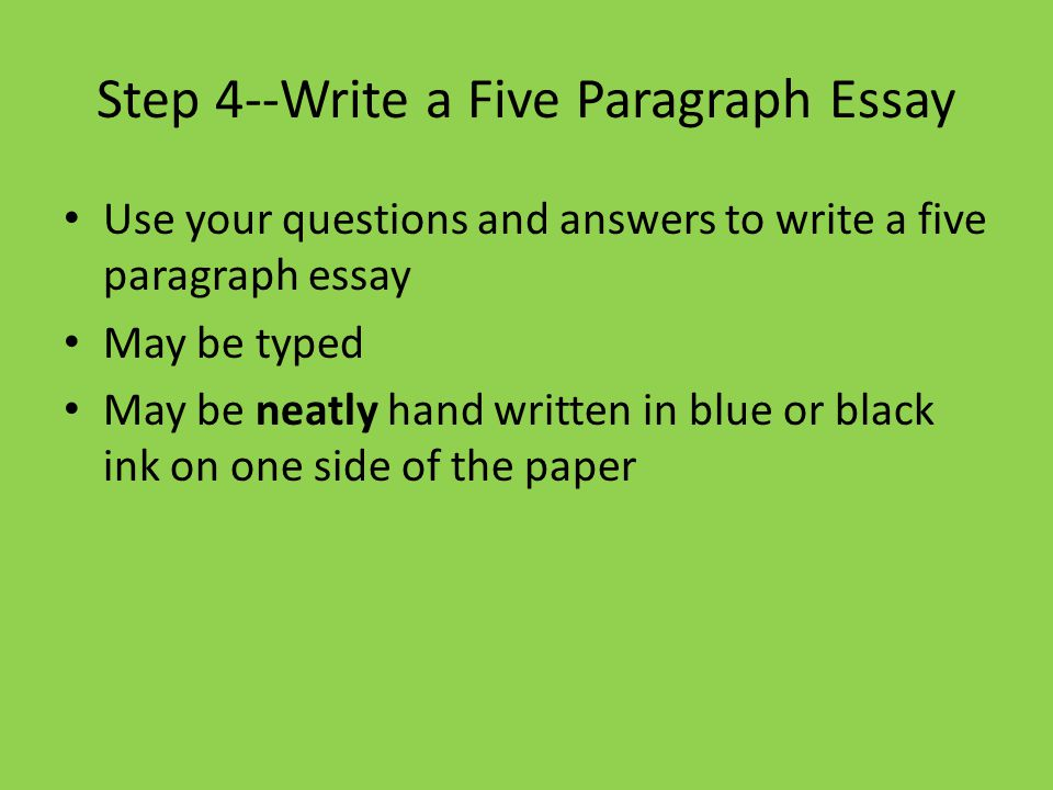 how to write a five paragraph essay A five-paragraph essay about a story is called a literary response essay it's basically persuasive: the writer is persuading the reader that he clearly understands and can interpret one of the.