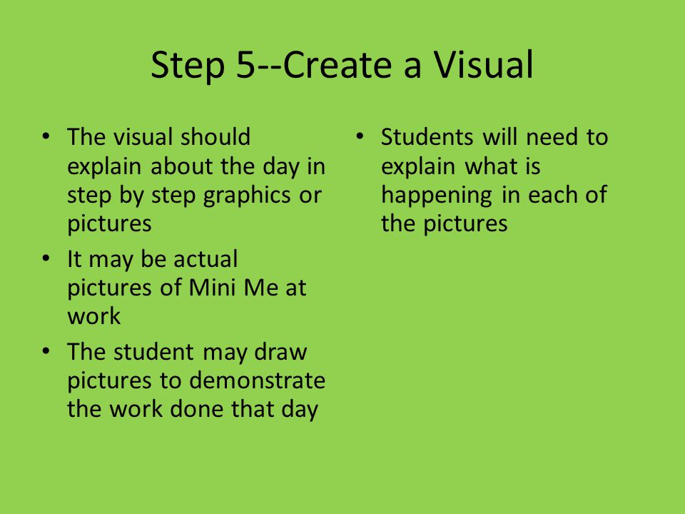 Step 5--Create a Visual The visual should explain about the day in step by step graphics or pictures.