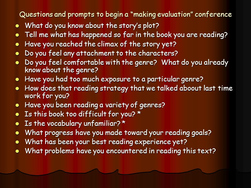Questions and prompts to begin a making evaluation conference