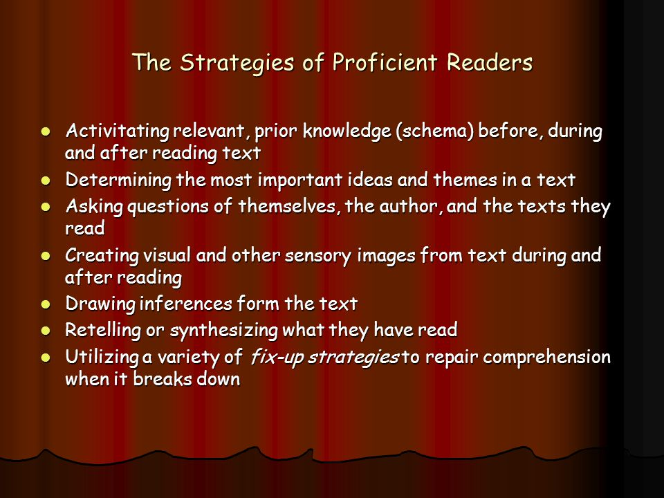 The Strategies of Proficient Readers