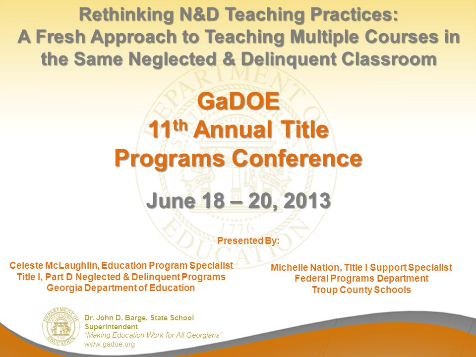 GaDOE 11th Annual Title Programs Conference