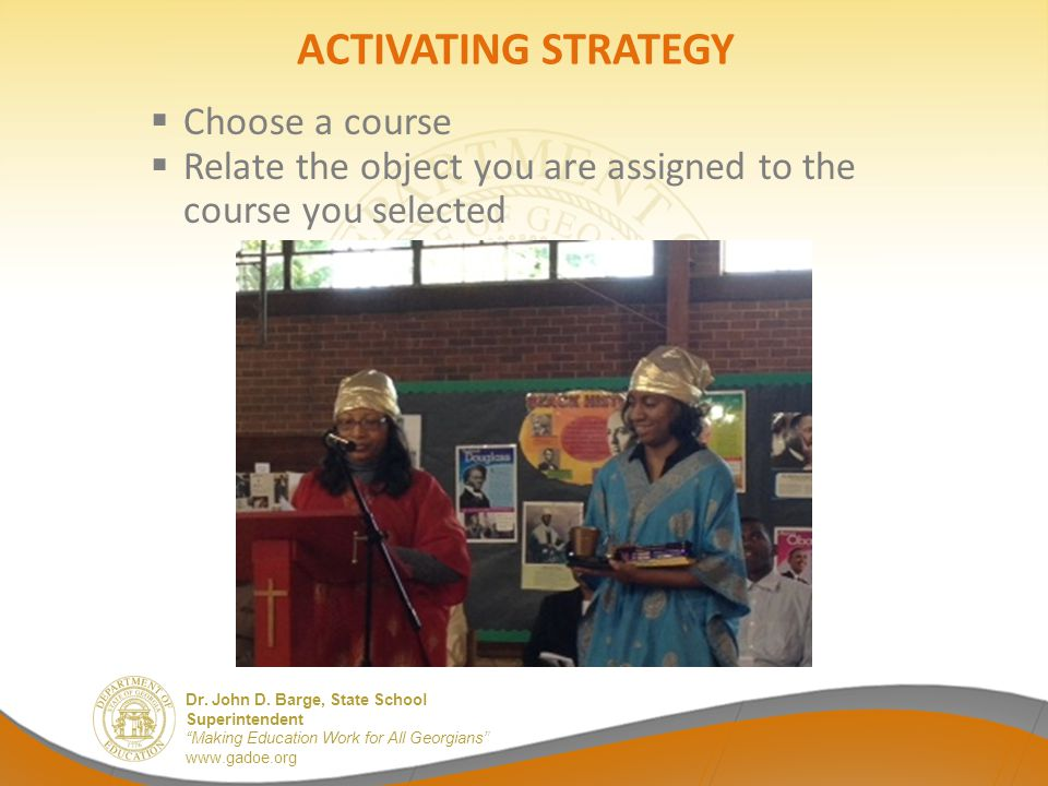 ACTIVATING STRATEGY Choose a course