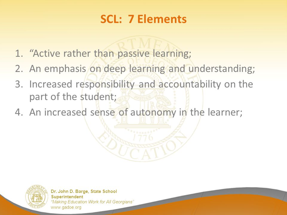 SCL: 7 Elements Active rather than passive learning;