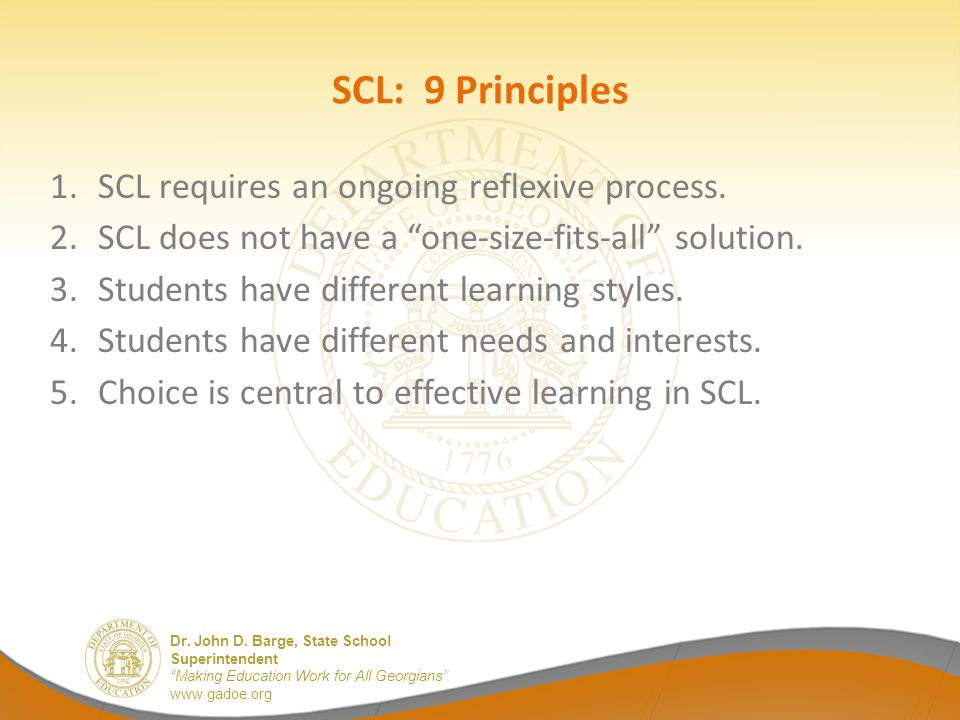 SCL: 9 Principles SCL requires an ongoing reflexive process.