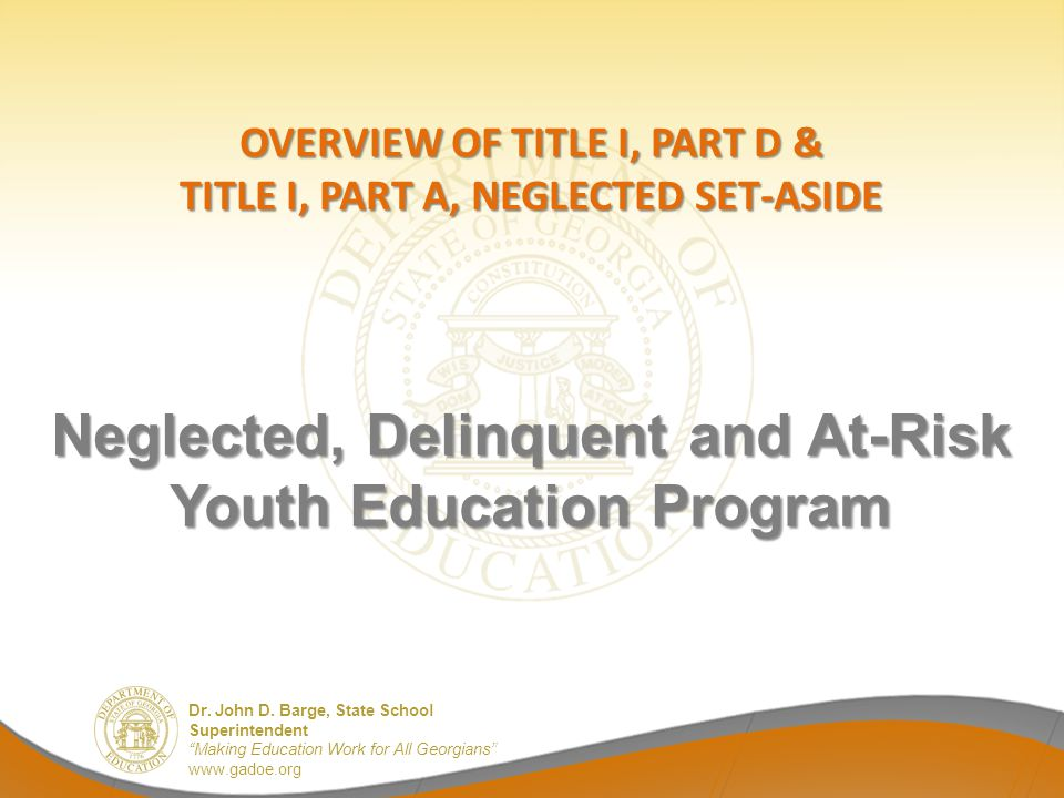Neglected, Delinquent and At-Risk Youth Education Program