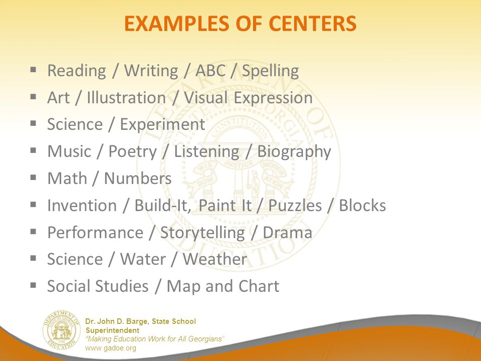 EXAMPLES OF CENTERS Reading / Writing / ABC / Spelling