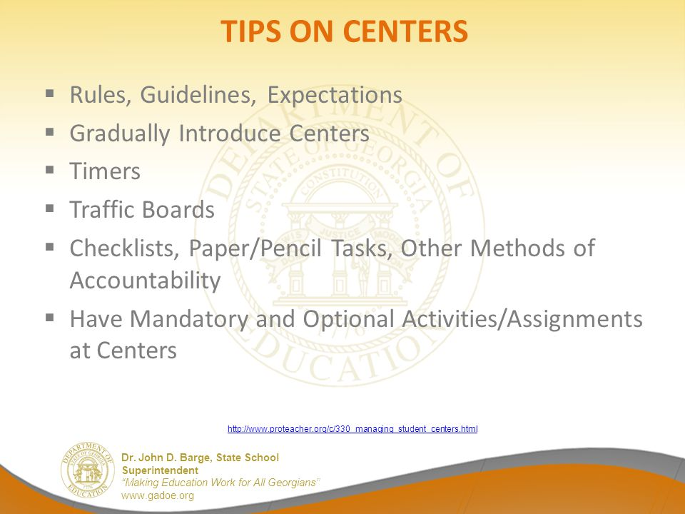 TIPS ON CENTERS Rules, Guidelines, Expectations
