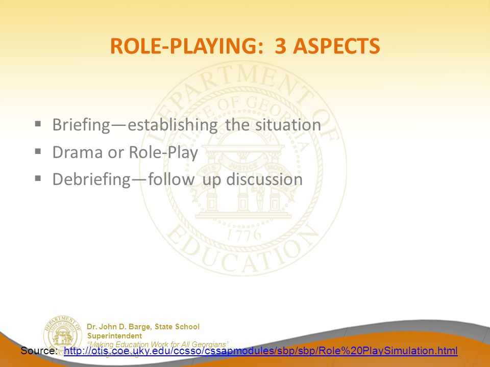 ROLE-PLAYING: 3 ASPECTS