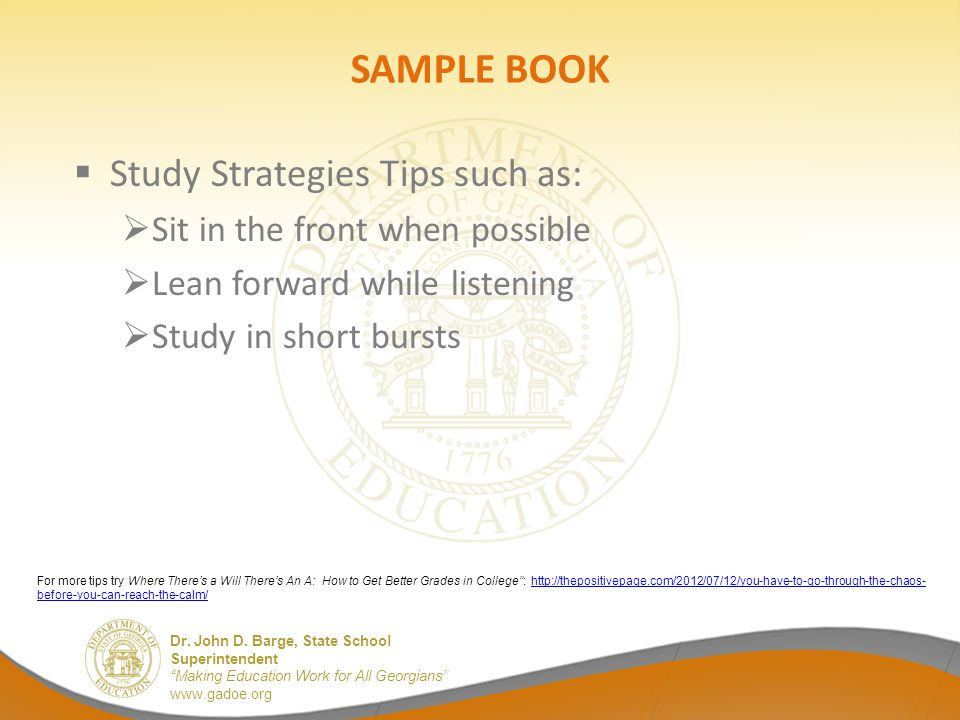 SAMPLE BOOK Study Strategies Tips such as: