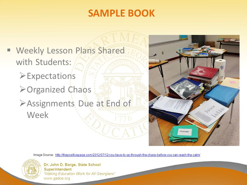 SAMPLE BOOK Weekly Lesson Plans Shared with Students: Expectations