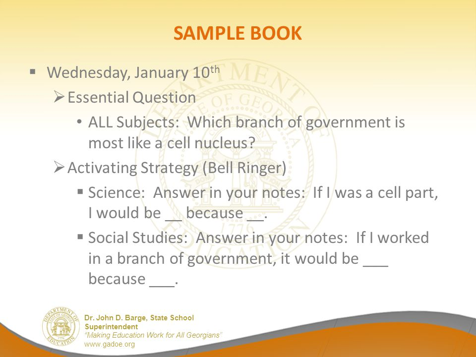 SAMPLE BOOK Wednesday, January 10th Essential Question