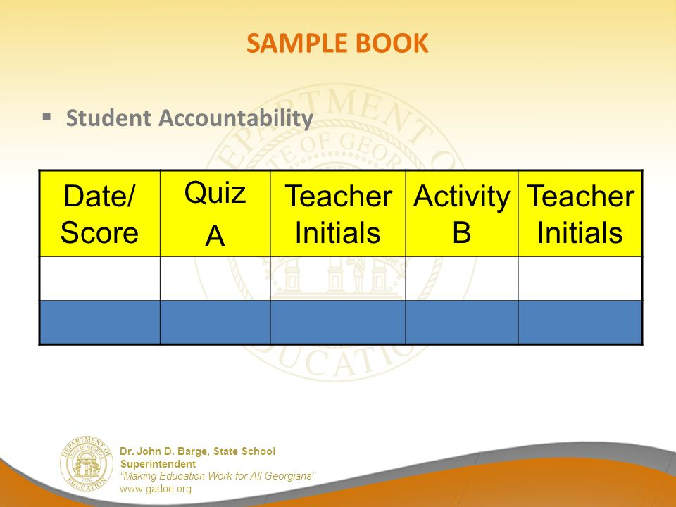SAMPLE BOOK Date/ Score Quiz A Teacher Initials Activity B