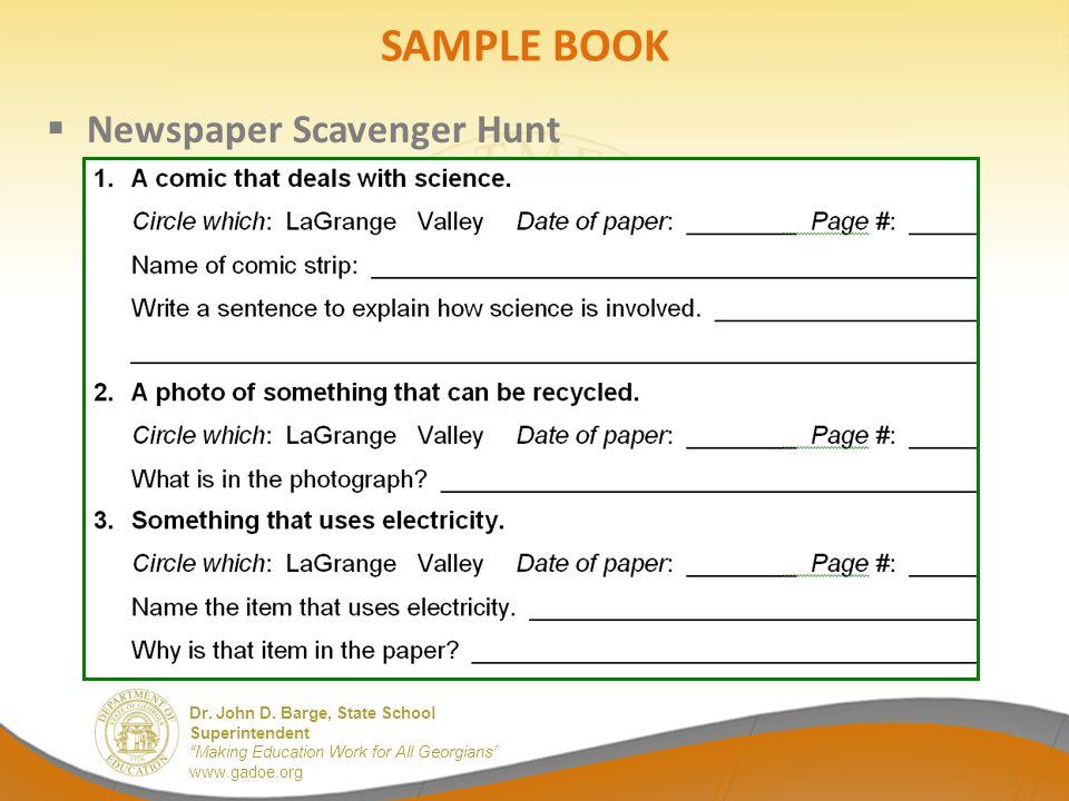 SAMPLE BOOK Newspaper Scavenger Hunt