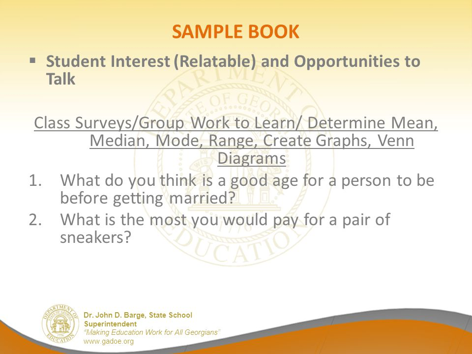 SAMPLE BOOK Student Interest (Relatable) and Opportunities to Talk