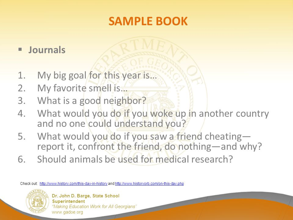 SAMPLE BOOK Journals My big goal for this year is…