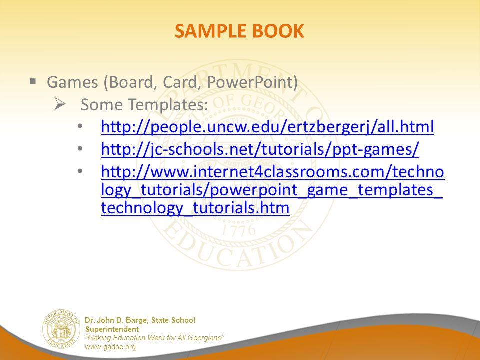 SAMPLE BOOK Games (Board, Card, PowerPoint) Some Templates: