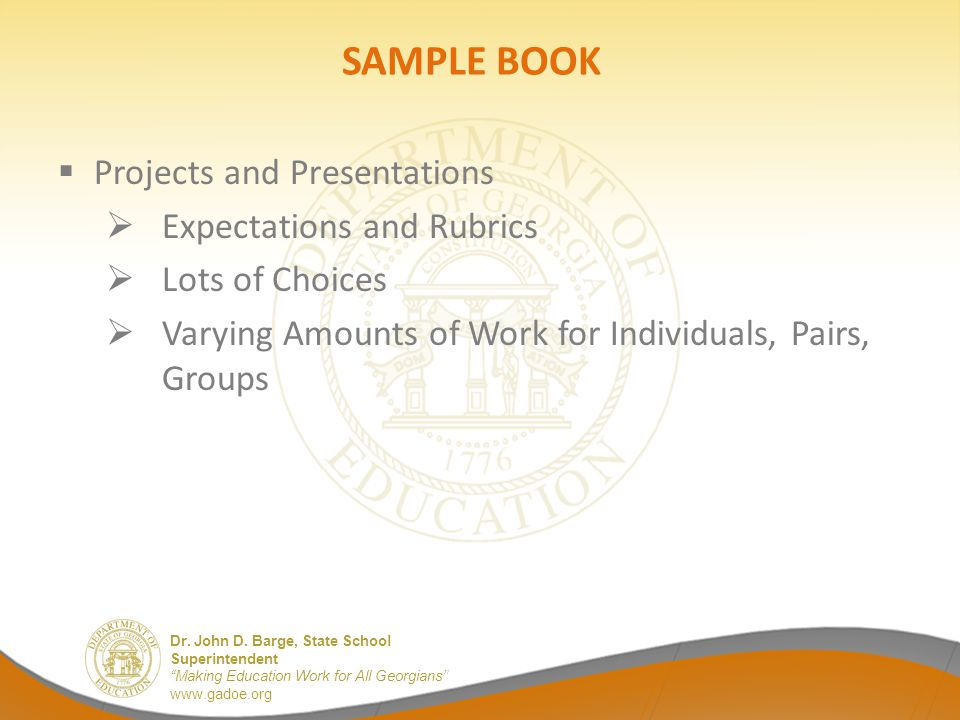 SAMPLE BOOK Projects and Presentations Expectations and Rubrics