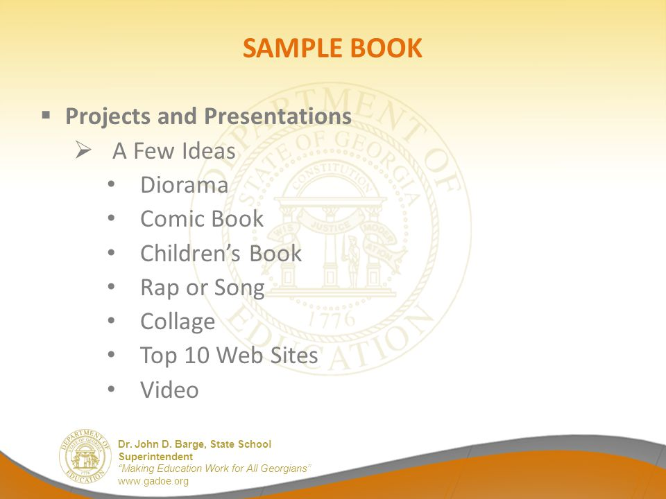 SAMPLE BOOK Projects and Presentations A Few Ideas Diorama Comic Book