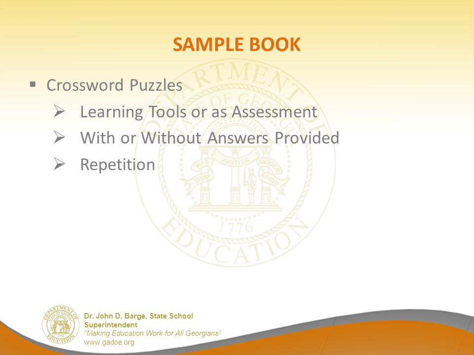 SAMPLE BOOK Crossword Puzzles Learning Tools or as Assessment