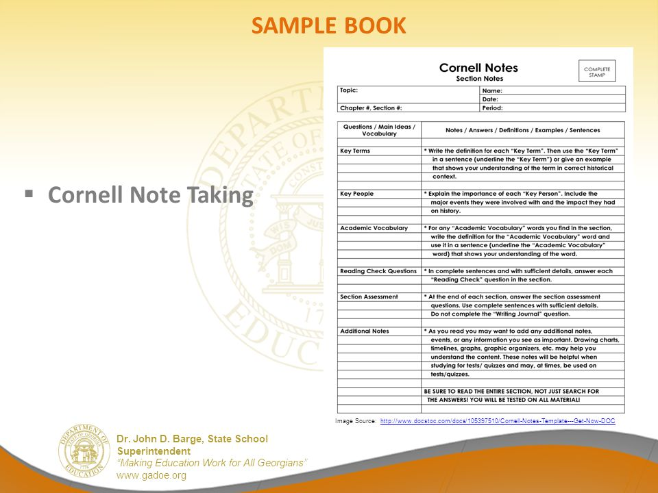 SAMPLE BOOK Cornell Note Taking