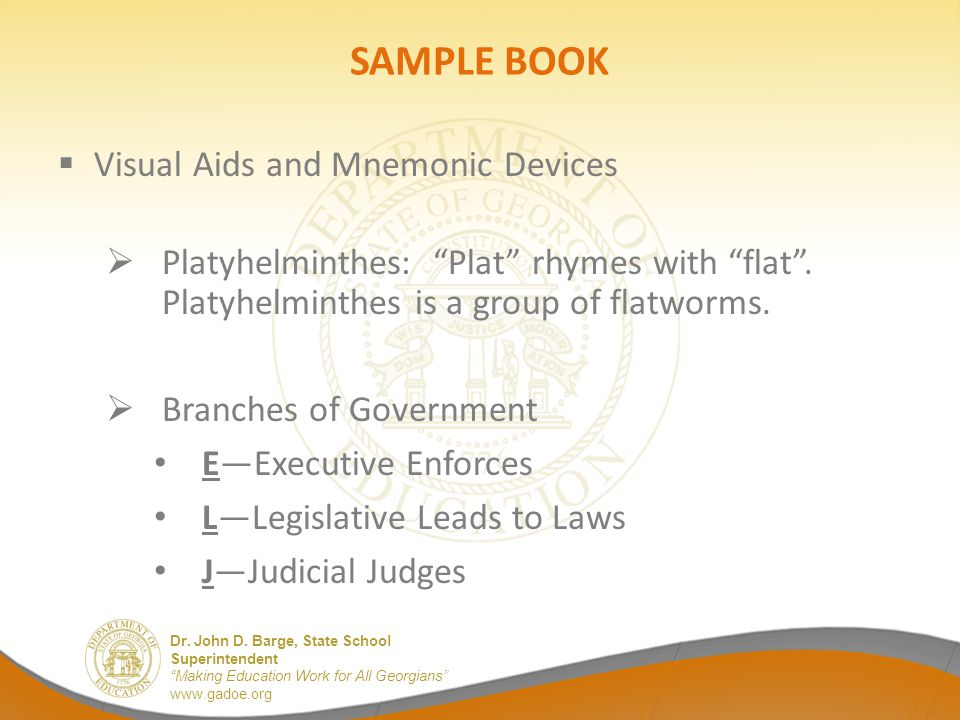 SAMPLE BOOK Visual Aids and Mnemonic Devices